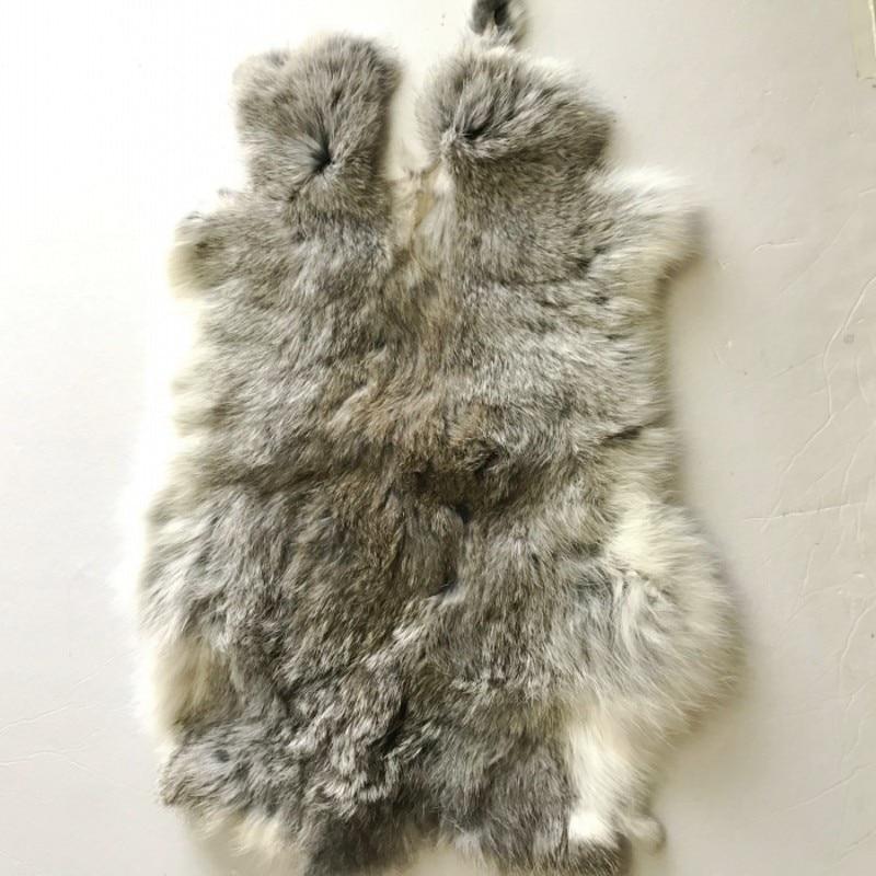 100% genuine rabbit fur rug 40*24cm, natural shaped real rabbit fur mat for furniture upholstery, DIY rabbit fur material SALES