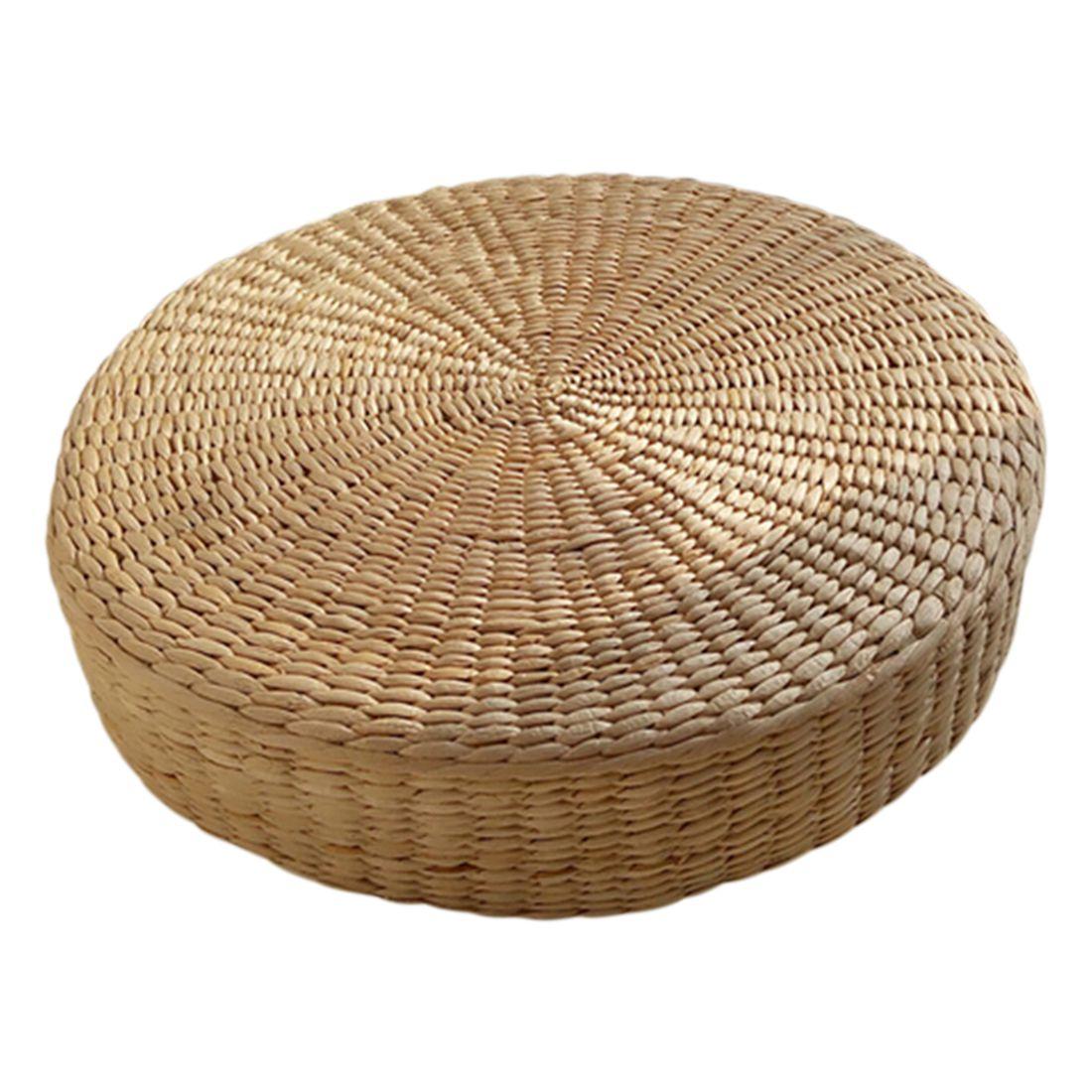 Venta caliente 40 cm Tatami cojín redondo paja tejido hecho a mano almohada piso Yoga silla Mat