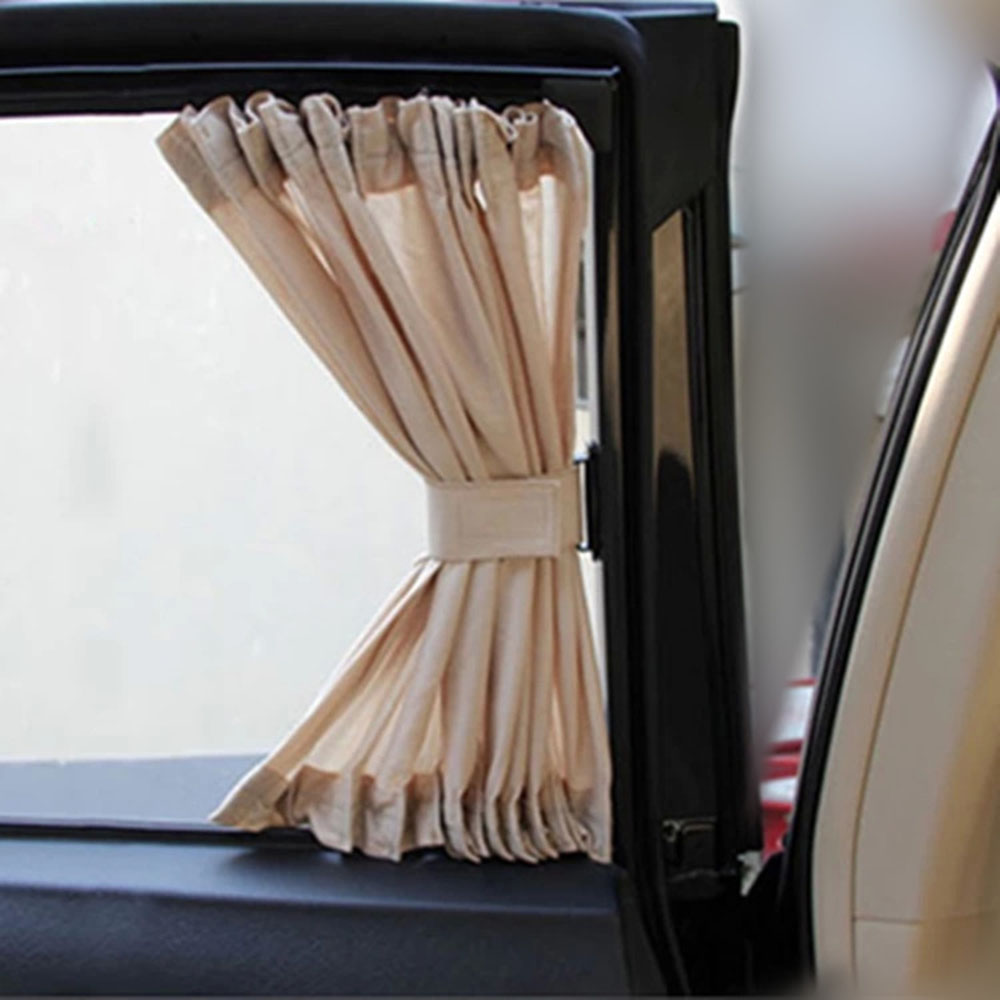 Universal 2pcs Car Sun Shade Curtain 70S 70x39cm Adjustable UV Protection for the Side Window Beige Colors