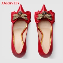 XGRAVITY Thin Sexy Heel Design Shoes Popular Bee Designer Charming Bridal Woman Dress Shoes Sexy Girl Lady Point Toe Shoes A130