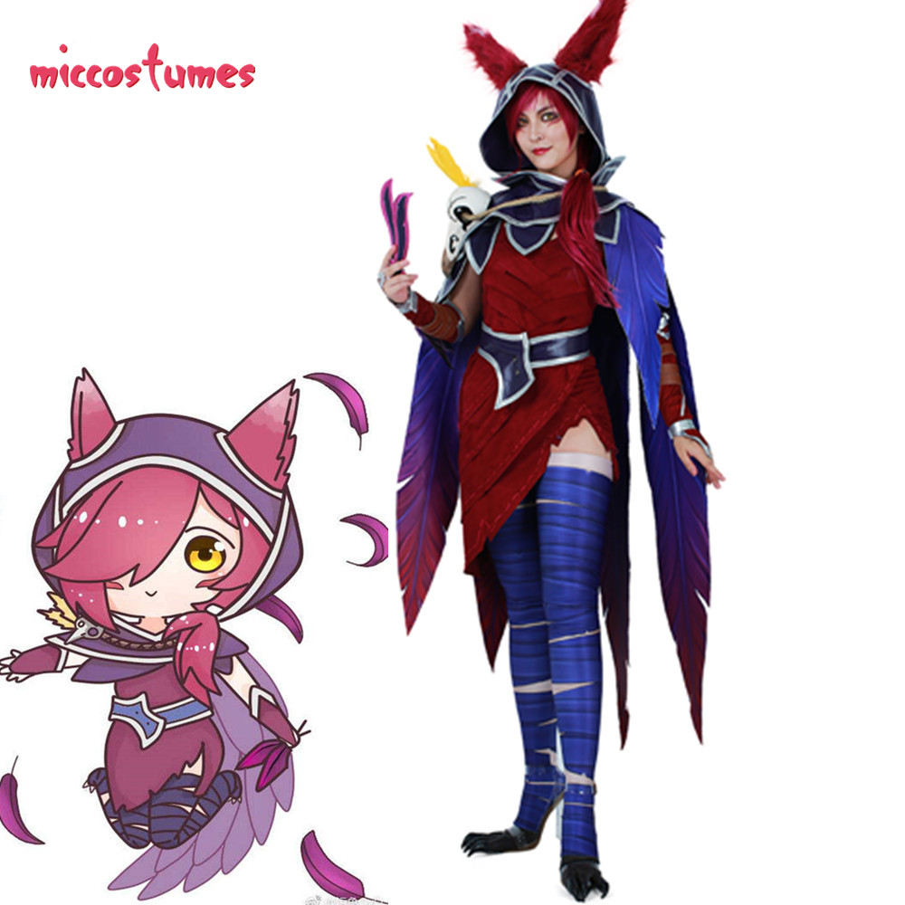 Xayah Cosplay Costume Woman The Rebel Halloween Outfit with Ears, Bird feet covers and Skull decoration
