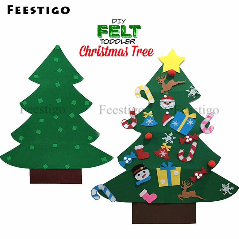 feestigo kids diy felt toddler christmas tree with ornaments christmas gifts 2019 new year door wall hanging home decoration in trees from home garden on