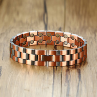 Fashion Jewelry Copper Color 2 Style Bracelets Mens Stainless Steel Hologram Magnet Bracelets Bangles For Man Trendy Gift