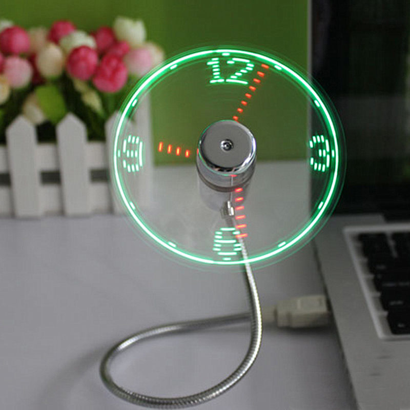 Mini Flexible USB LED Light USB Fan Time Clock Night Light Desktop Clock USB Gadget Cool Time Display