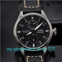 Высокое качество 2016 новая мода Парнис 47 мм Большой циферблат пилот тип часы Автоматические механические движения мужские часы Класса Люкс часы
