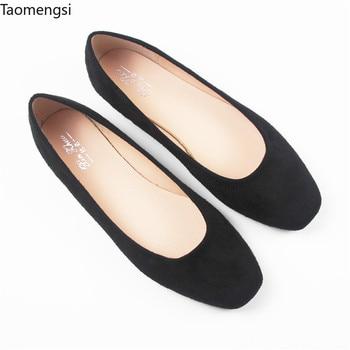 Taomengsi's new spring Fangtou zapatos para mujer de suela plana de suela baja, zapatos negros de barco de talla pequeña 31-33, talla grande 40-44