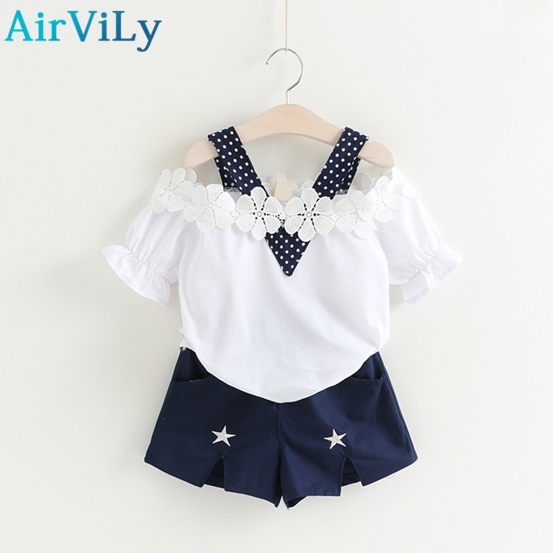 2017 Rushed New Arrival Summer Teenage Girl T Shirt shorts Two-piece Sets Kids Clothes Children Clothing Girls Cotton 2 Colors