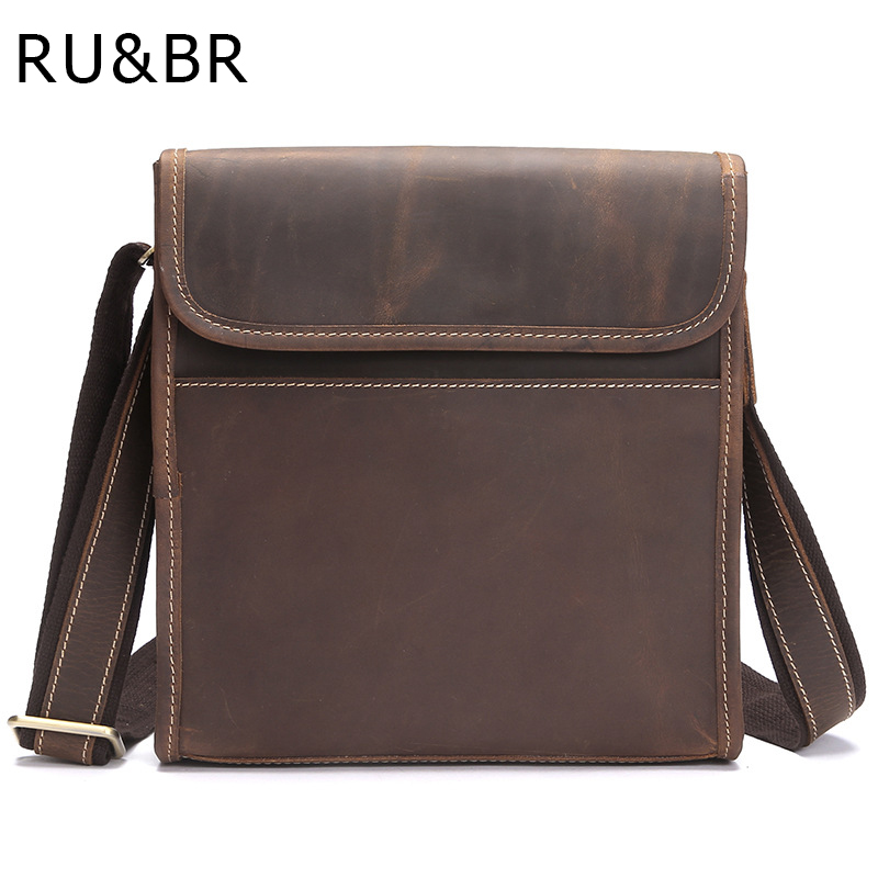 RU&BR Crazy Horse Leather Men's Shoulder Bag Vintage Casual Genuine Leather Men Messenger Bags Business Men's Crossbody Handbags crazy horse genuine leather bag men vintage messenger bags casual totes business shoulder crossbody bags men s travel handbags