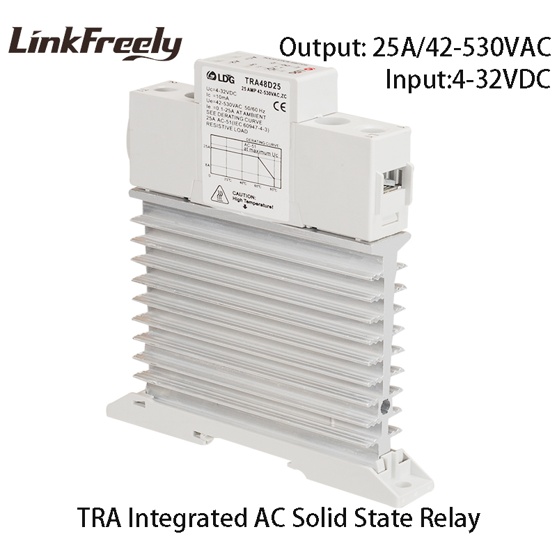 TRA-48D25M1 5pcs Integrated Solid State Relay 25A DC to AC Ouput 42-480VAC Heat Sink Din Rail SSR Relay 5V 12V 32V 24VDC Input tra 23d40m1 5pcs intelligent automation integrated ssr relay 3v 5v 12v 24v dc input din rail solid state relay heat sink 40a