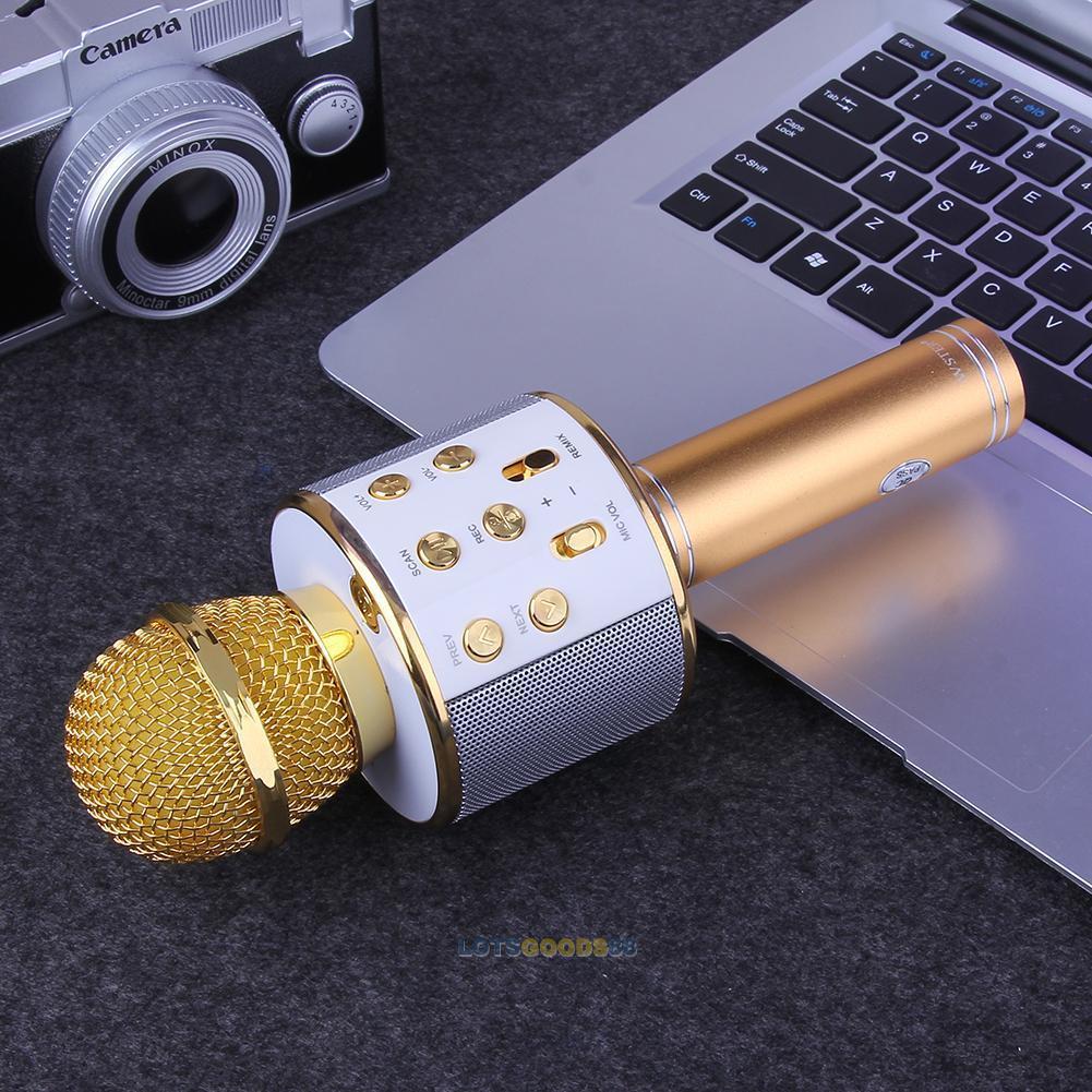 Microphone WS-858 Wireless Karaoke Easyhold USB KTV Player Bluetooth Mic Speaker