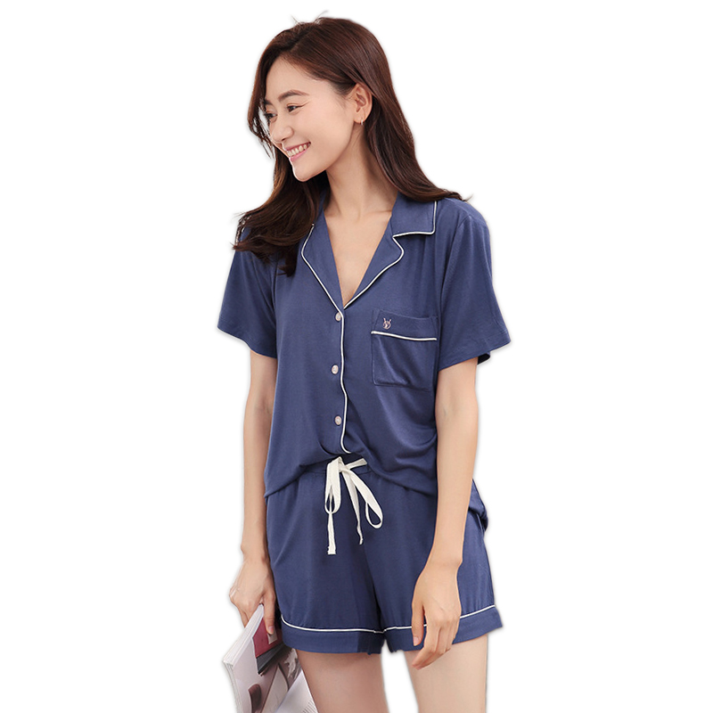 Hot sale fashion modal short   pajamas     sets   women summer short sleeves high-quality sexy simple sleepwear indoor women pyjamas