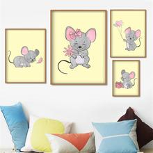 Cute Mouse Balloon Flower Animal Nordic Posters And Prints Wall Art Canvas Painting Watercolor Pictures For Kids Room Decor