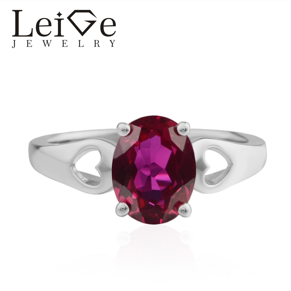 LeiGe Jewelry Lab Red Ruby Ring Promise Rings Oval Cut Red Gemstone Ring 925 Sterling Silver Rings Romantic GiftLeiGe Jewelry Lab Red Ruby Ring Promise Rings Oval Cut Red Gemstone Ring 925 Sterling Silver Rings Romantic Gift
