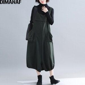 Image 1 - Dimanaf plus size vestido longo feminino grosso inverno senhora vestidos elegantes sem mangas solto casual feminino grandes bolsos vestido irregular