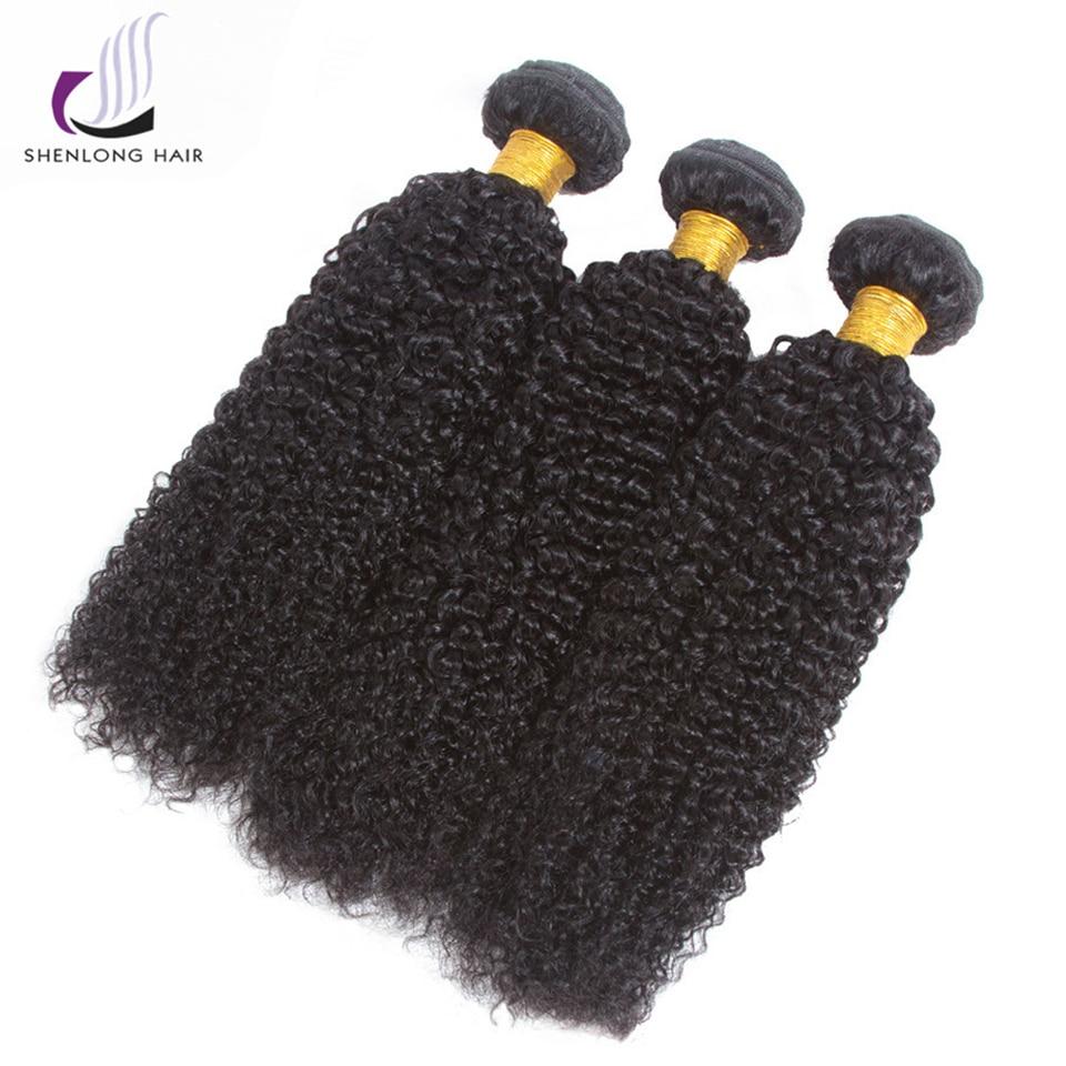 SHENLONG Hair Brazilian Natural Color Kinky Curly Hair Weave 100% - Mänskligt hår (svart)