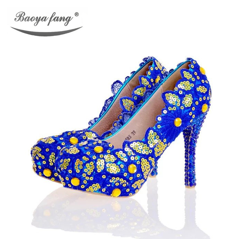 Blue yellow Bling Women Wedding shoes High heels platform shoes 2017 Female stage shoes plus size leather insole round toe Pumps baoyafang new arrival white pearl tessal womens wedding shoes high heels platform shoes real leather insole high pumps female