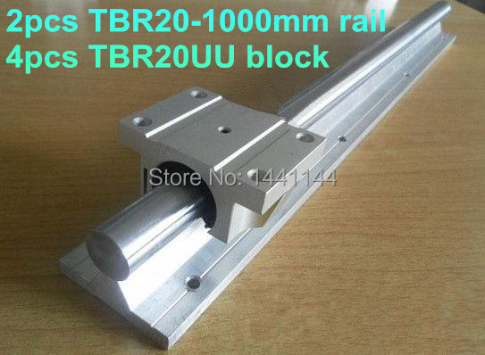 2pcs TBR20 - 1000mm linear  rail + 4pcs TBR20UU Flange linear slide block teka tbr 620