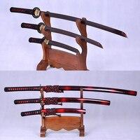 SAMURAI JANPANESE SWORDS SET (KATANA+WAKIZASHI+TANTO) FULL TANG DAMASCUS FOLDED STEEL BLACK & RED BLADE VERY SHARP BATTLE READY