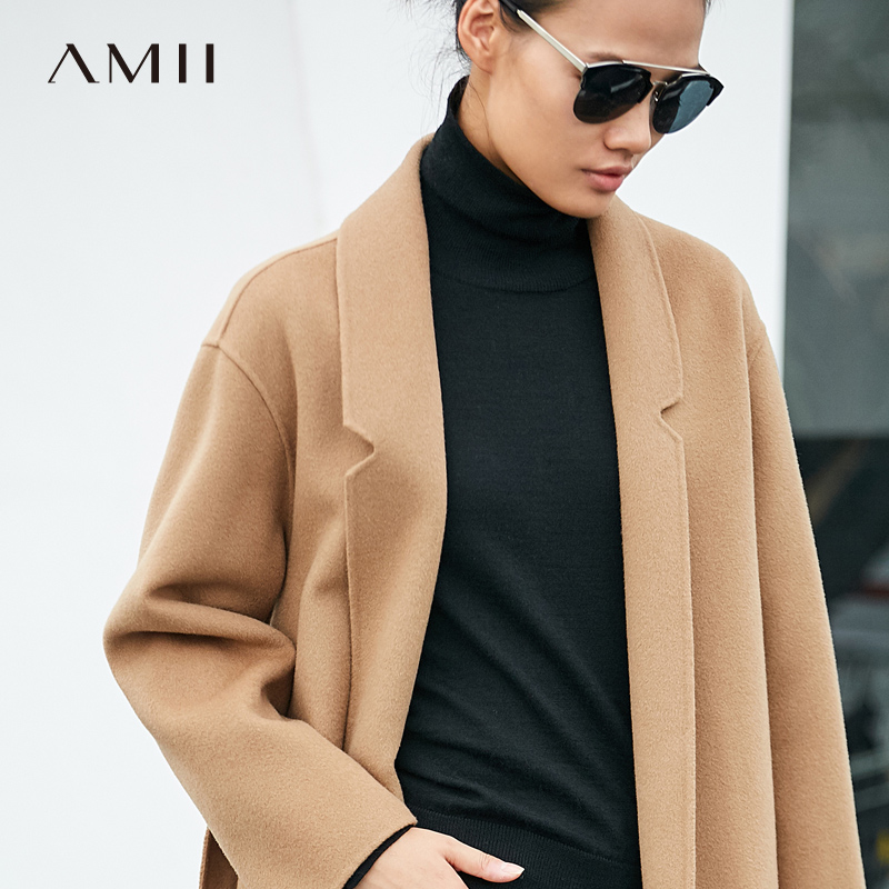 Amii Minimaliste 100% Laine Manteau Automne 2018 Causalité Réglable Taille Ceinture Solide À Manches Longues Mince Femelle Double Side Laine Manteau