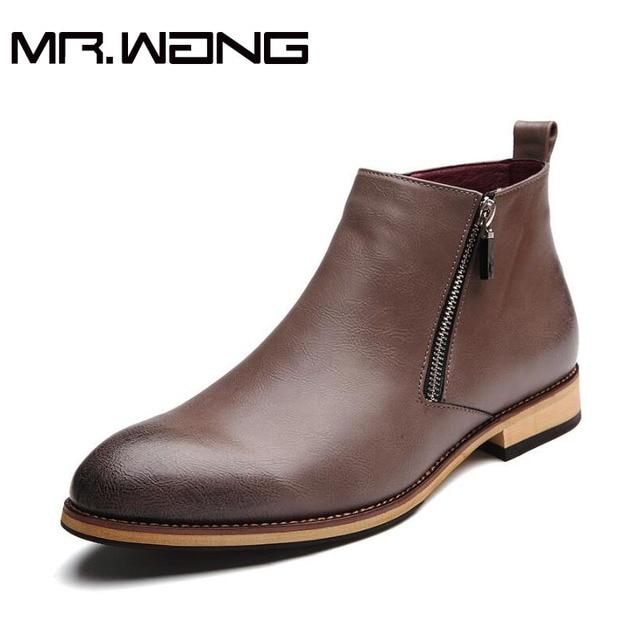 2016 Moda Hombre Botines Casual Hombres de Cuero genuino con cremallera Botas para la nieve Zapatos de Invierno Hombres Botas martin Negro Botas Calientes CC-34