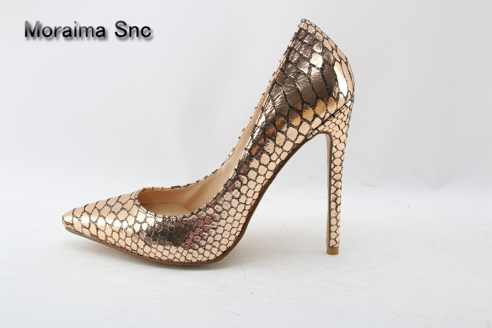 Moraima Snc Brand Pointed Toe Stiletto Heel Women Shoes Gold Snake Leather Thin High Heels Party Shoes Slip-on Women Pumps 2018 sexy gold metal decoration high heel pumps pointed toe thin heels slip on women party dress shoes formal wedding dress shoes