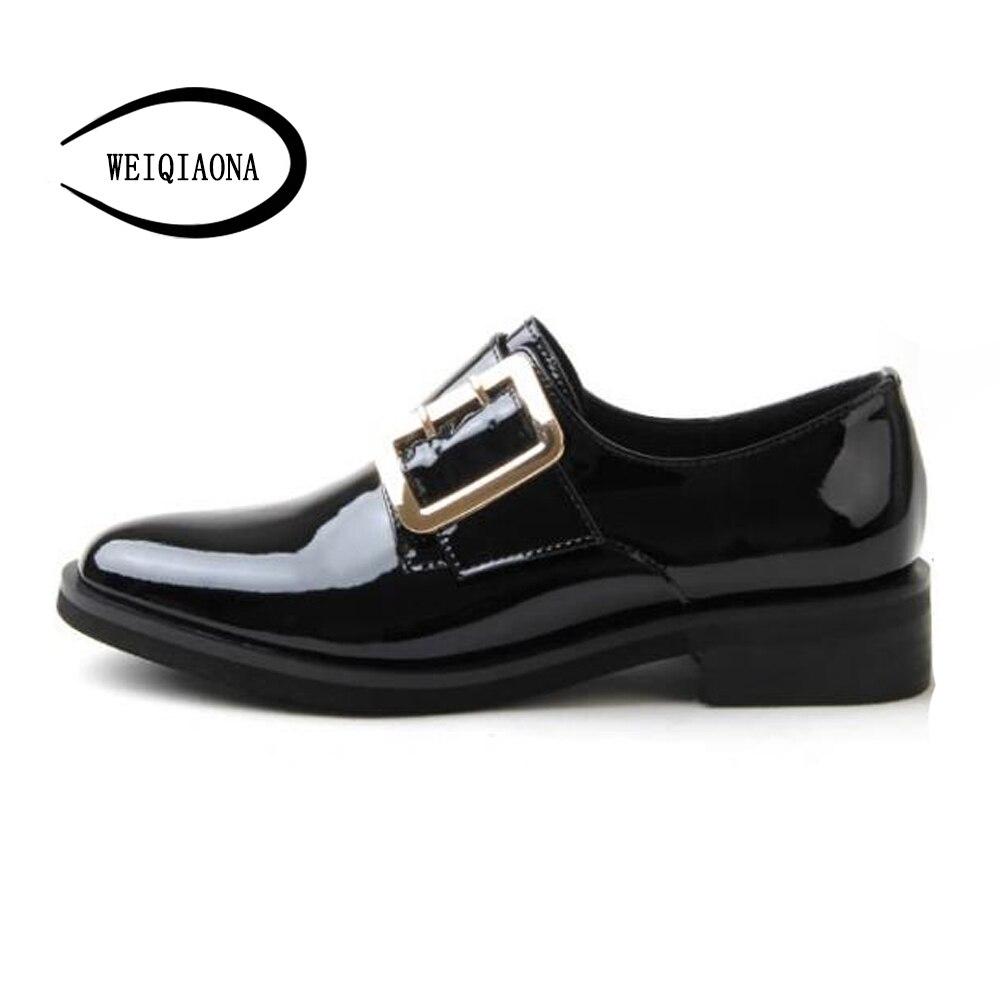 Weiqiaona мода осень новые туфли из натуральной кожи с круглым носком на низком каблуке с закрытым носком ременная пряжка Рим Для женщин; тонкие ... - 4