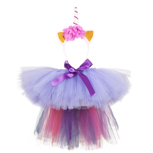 Girls Pettiskirt Ramadan Clothing Kids Pony Unicorn Tutu Skirt with Headband Teens Knee Length Birthday Long Tail Skirts