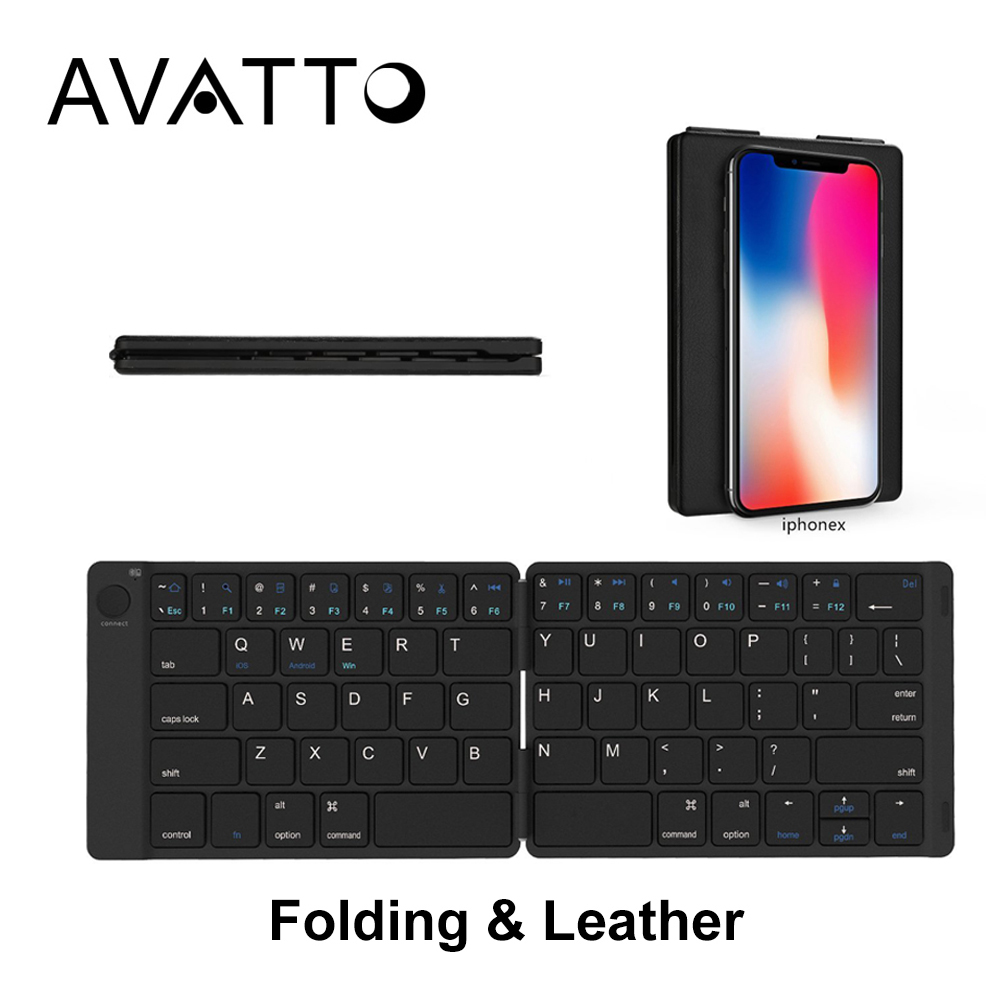 [AVATTO] Portable Leather Russian Bluetooth Wireless Tablet Mini Keyboard With BT Keypad For Andorid IOS IPad Tablet Laptop
