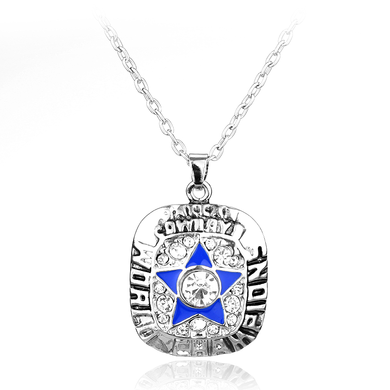 MQCHUN Hot Sell Sport Jewelry Dallas Cowboys Championship Pendants Necklace Crystal Star Jewelry For Men Women Fans Party Gift