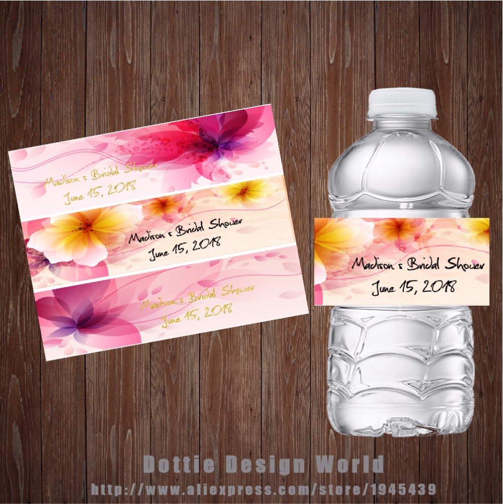 20 pcslot Custom Floral Wedding Water Bottle Labels Candy Bar wrapper Bridal Shower Baby shower Birthday Hen Party decoration