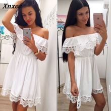 Women Sexy Slash neck White Black Lace Patchwork Dress 2018 New Summer Beach Party Loose Casual dresses Vestidos Plus size Xnxee