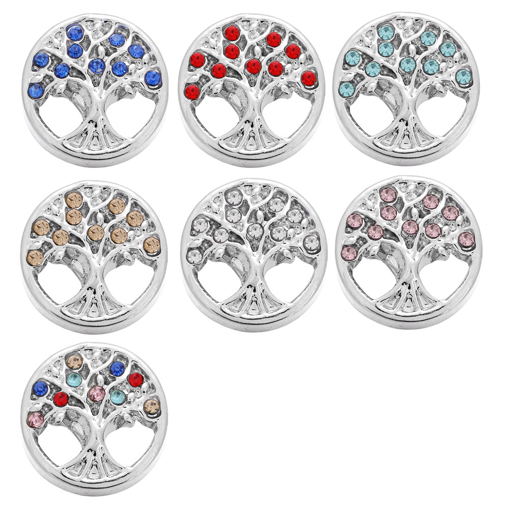 10pcs/lot New 12mm Snap Jewelry High Quality Crystal Tree of Life 12mm Snap Buttons Mini Snap for Ginger Snap Bracelet Earrings image