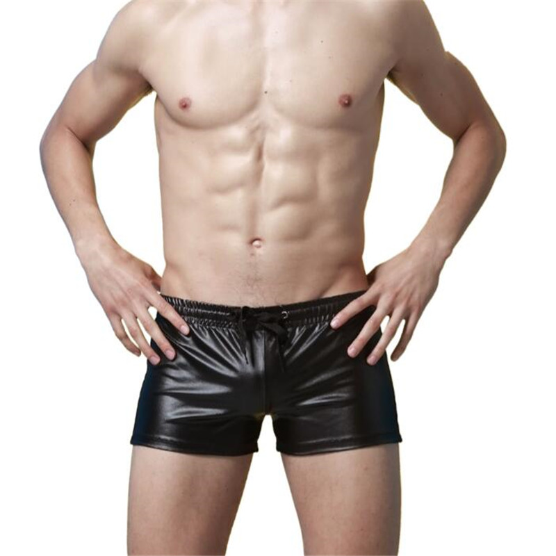 NEW Faux Leather Lace Up Sexy Men's Trunk   Shorts  ,Men's Club Stage Performance Boxer   Shorts   Underwear,Men's   Shorts