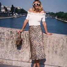 цена на Hot Sale High Waist Leopard Midi Skirt Female Hidden Elasticized Waistband Silk Satin Skirts Slip Style Animal Print Skirt Women