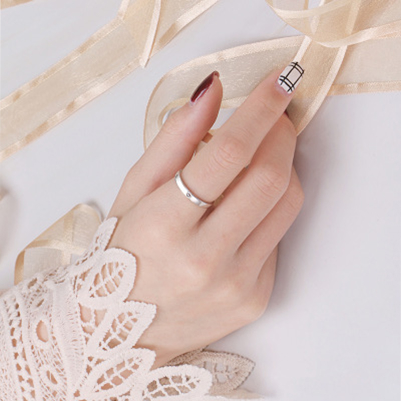 Qevila Fashion Silver color Ring Simple Style Moon Sun Love Adjustable Plate S925 Couple Rings For Girls Boy Best Friend Jewelry (5)