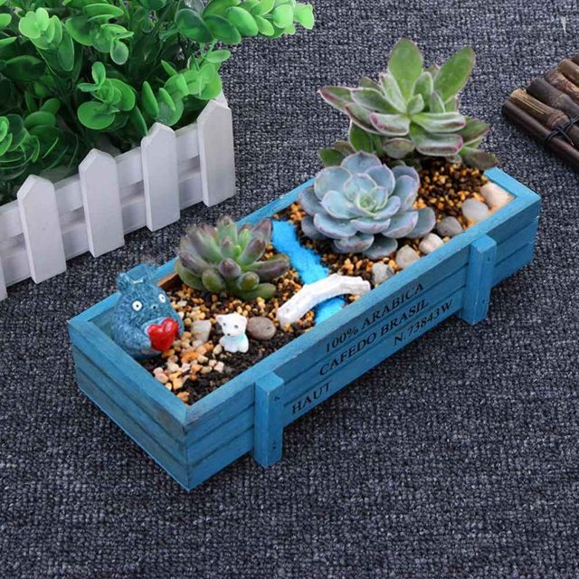 Vintage Garden Supplies Wooden Garden Planter Window Box Trough Pot Succulent Flower Bed Plant Bed Pot for Living Room Office