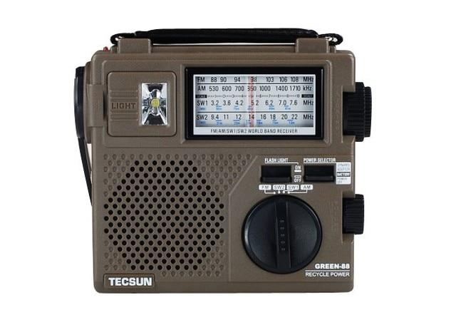 Tecsun зеленая-88 GREEN88 FM / AM / SW полный 20-полосный экономические / окружающей среды / радио со светом динамо сгибать аккумуляторная