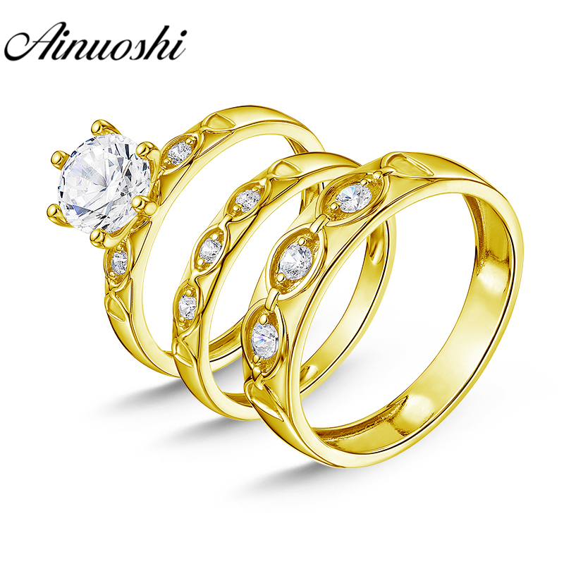 AINUOSHI Real Gold TRIO Rings Bridal Rings Set 3 Stone Wedding Band Engagement Jewelry 14K Solid Yellow Gold Couple Rings Sets