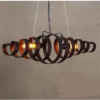 Ретро индустрия подвесные светильники Личность Простой творческий гостиная ресторан спираль подвесной светильник из кованого железа GY258