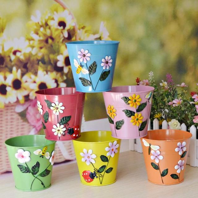 Bright Color Flower Garden Insect Home Decoration Metal Bucket Vase Pot Barrel Storage