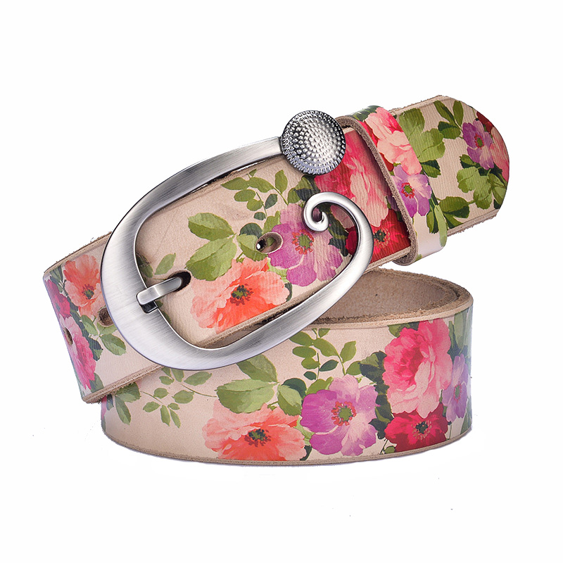 Pin Buckle Rose Floral Real Leather Belt