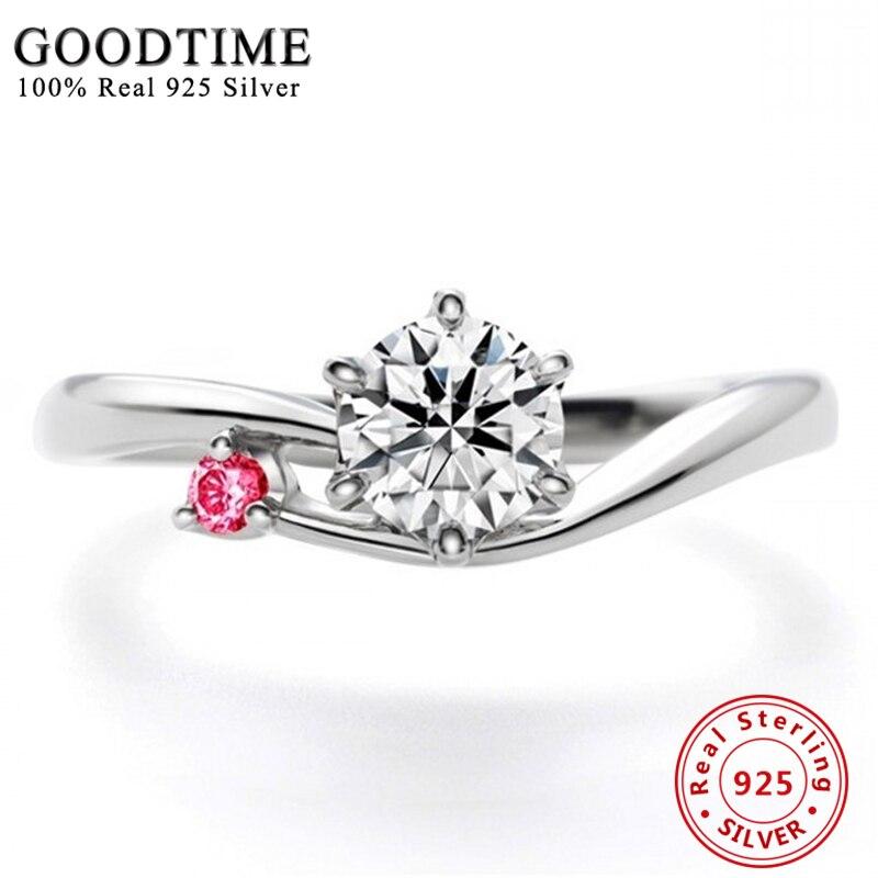 fd07e4597a7e Joyería fina plata de ley 925 anillo de bodas del embutido brillante CZ  zirconia dedo Anillos para mujeres joyería regalo gtr033