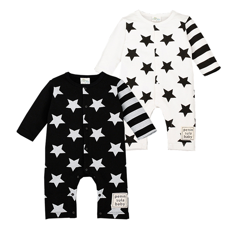 Star Romper Spring Autumn Fashion Newborn Baby Clothes Infant Boys Girls Rompers Long Sleeve Coveralls Roupas De Bebe Unisex baby rompers 2016 spring autumn style overalls star printing cotton newborn baby boys girls clothes long sleeve hooded outfits
