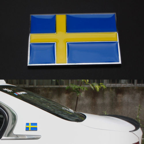 Auto Car New Metal 3D Sweden Swedish Flag Badge Emblem Side Rear Body Sticker Car Styling Auto Accessories Car Stickers Covers 1 pair door protector anti collision canada flag emblem 3d car stickers creative car styling automobile accessories