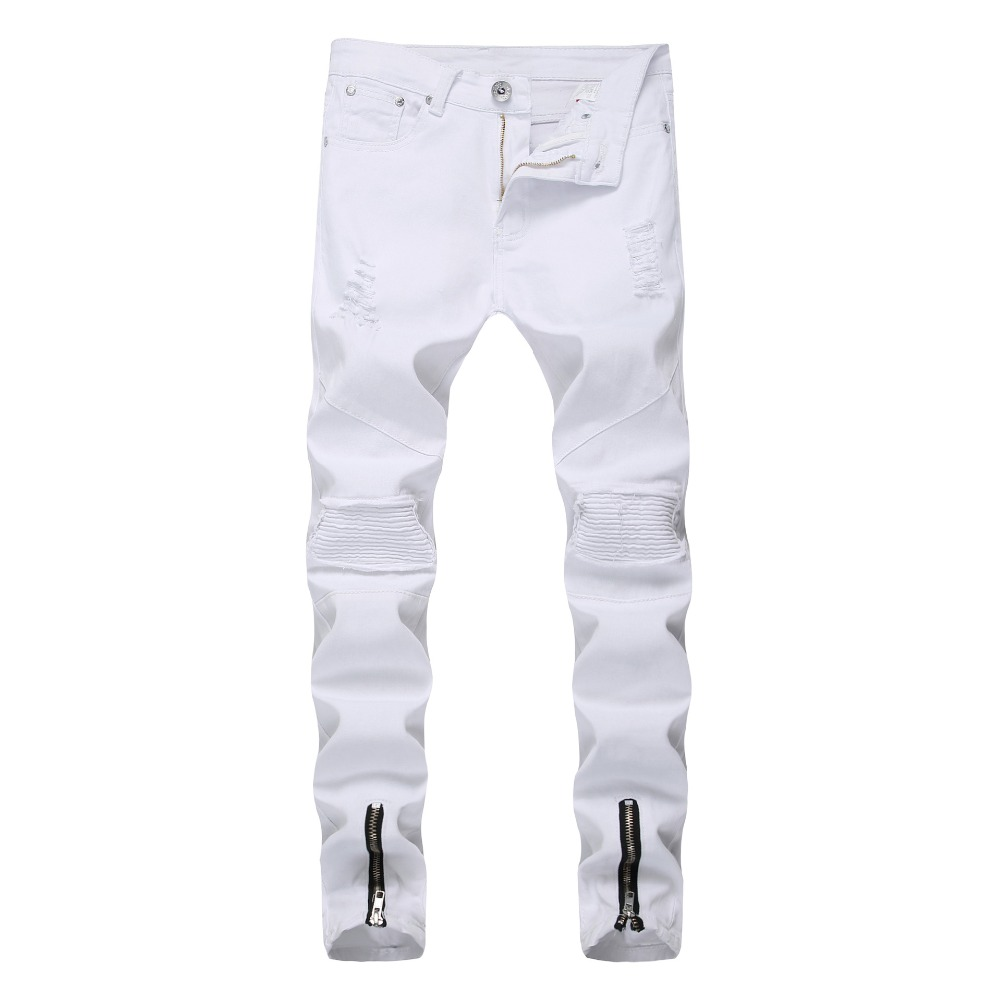 Fashion 2019 spring autumn Casual Skinny white color Jeans Men biker locomotive leg Zipper Distressed pleated hip hop trousers in Jeans from Men 39 s Clothing