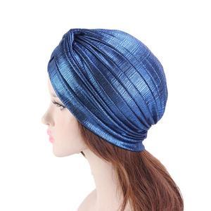 Image 5 - נשים הודי טורבן כובע ראש לעטוף כיסוי שיער אובדן סרטן חמו כובע קפלים כובע מוסלמי מצנפת בימס Skullies ערבי מטפחת כובע