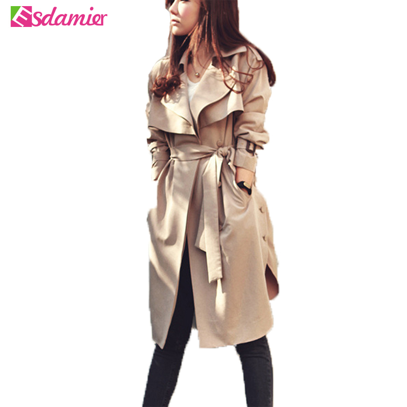 Fashion Spring Autumn   Trench   Coat Plus Size Women Clothing Long   Trench   Slim Outwear Manteau   Trench   Coat for Women With Belt