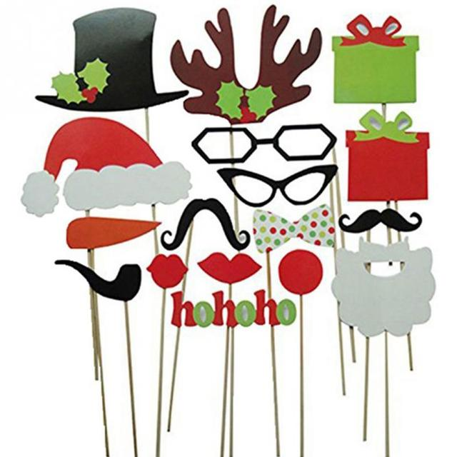 Photo Booth Props Christmas Decorations Funny Mask Merry Christmas ...