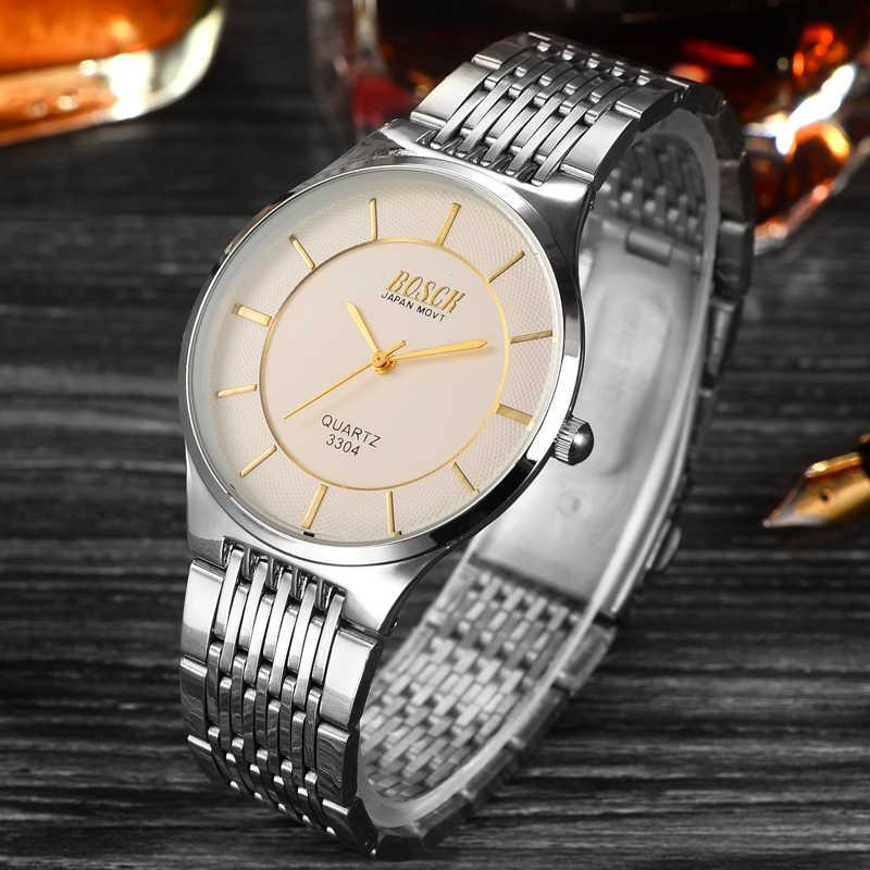 2019 Bosck hommes montres de luxe en acier inoxydable montres d'affaires Quartz montre Simple horloge Relogio Masculino Reloj Hombre