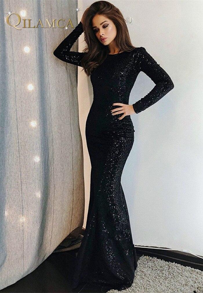 Elegant Black Sequin Evening Dress 2019 Sexy Long Sleeves Mermaid Dresses Long Evening Gowns Vestidos De Noche